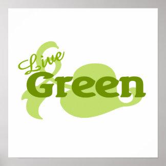live green leaf poster