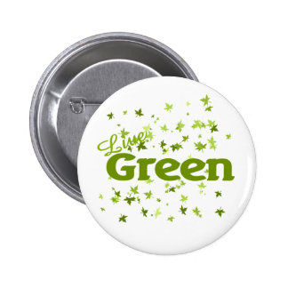 live green leaves pinback buttons