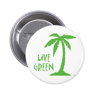 Live Green - Palm Tree 2 Inch Round Button
