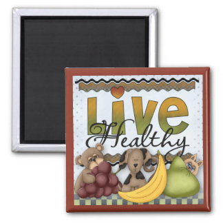 Live Healthy Fruits and Critters Kitchen Magnet