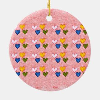 Live hearts ceramic ornament