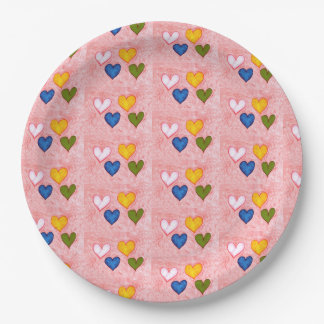 Live hearts paper plate