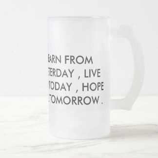 live hope learn frosted glass beer mug