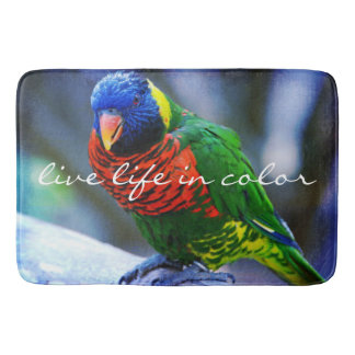 """""""Live in Color"""" Quote Red Blue & Green Bird Photo Bath Mat"""