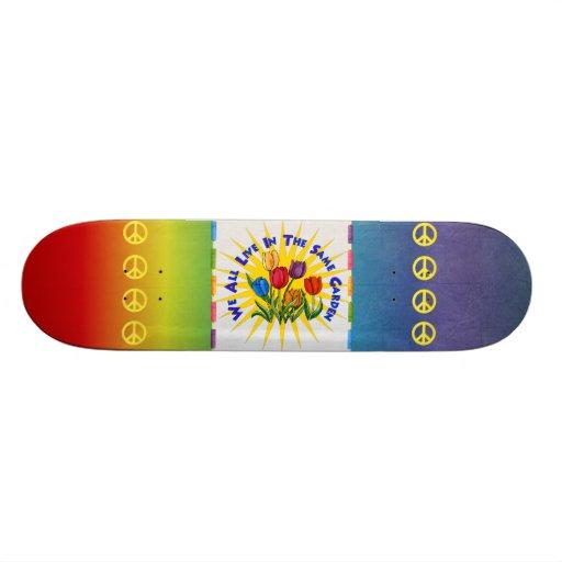 Live In Peace Garden Custom Skate Board