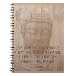 Live in the Moment Buddha Art Buddhist Saying Spiral Notebook