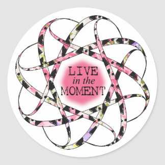 Live in the Moment colourful floaty circular Classic Round Sticker