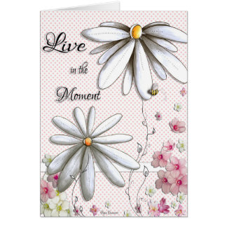 Live in the Moment Daisy Polka Dots Card