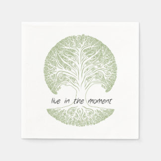 Live in the Moment Tree Paper Napkin