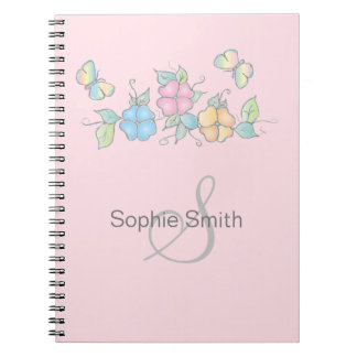 Live Laugh | Butterfly Floral Monogram Notebook