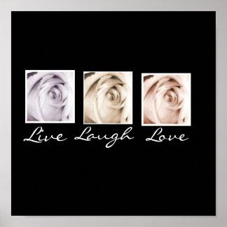 Live, Laugh, Love 3 roses black background print