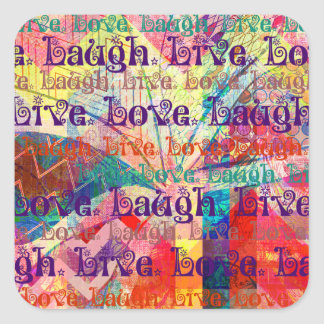 Live Laugh Love Abstract Textured Plaid Pattern Square Sticker
