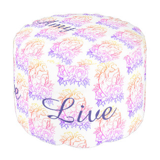 Live Laugh Love Anatomical Heart with Roses BRIGHT Pouf