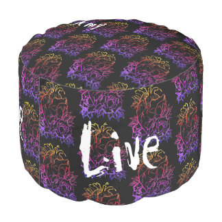 Live Laugh Love Anatomical Heart with Roses DARK Pouf
