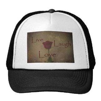 Live Laugh Love and Romance Rose Photograph Art Mesh Hat
