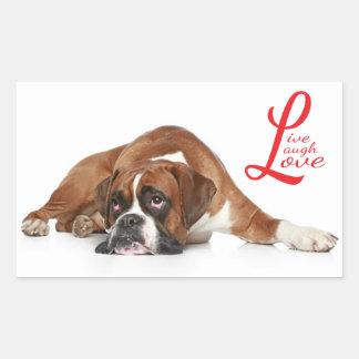 Live, laugh, Love Boxer Puppy Dog Greeting Sticker
