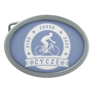 Live Laugh Love Cycle (wht circle) Oval Belt Buckle