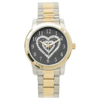 Live Laugh Love Diamond Heart Watch