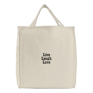 Live Laugh Love Embroidered Tote Bags