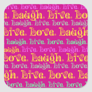 Live Laugh Love Encouraging Words Hot Pink Fuchsia Square Sticker