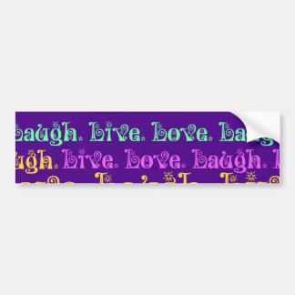 Live Laugh Love Encouraging Words Purple Girly Bumper Sticker