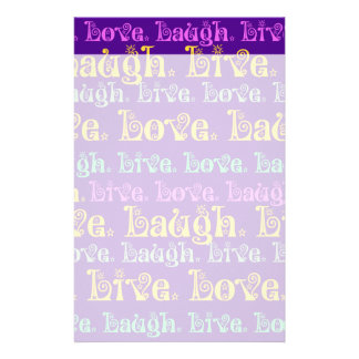 Live Laugh Love Encouraging Words Purple Girly Customized Stationery