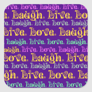 Live Laugh Love Encouraging Words Purple Girly Stickers