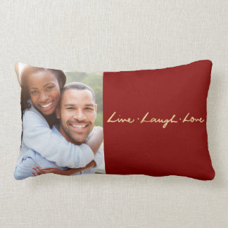 Live laugh Love Faux Gold Hand Lettered Photo Lumbar Pillow