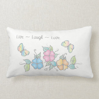 Live Laugh Love, Floral Watercolor Butterfly Lumbar Pillow