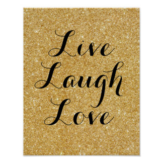 Live Laugh Love, glitter art poster