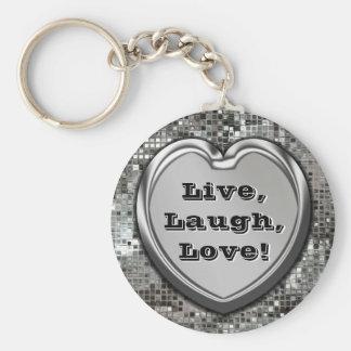 Live, Laugh, Love! Glitter Keychain