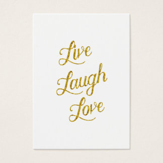 Live Laugh Love Gold Faux Glitter Metallic Sequins Business Card
