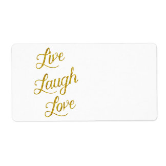 Live Laugh Love Gold Faux Glitter Metallic Sequins Shipping Label