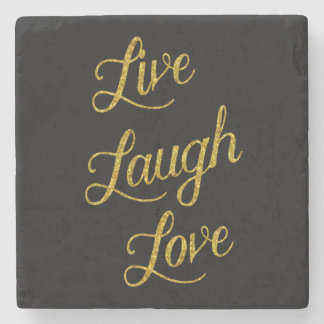 Live Laugh Love Gold Faux Glitter Metallic Sequins Stone Coaster
