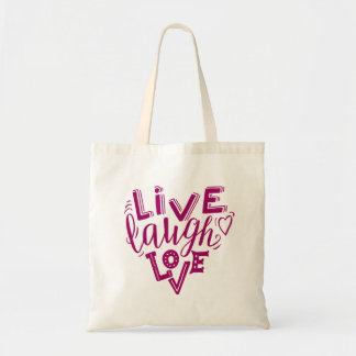 Live laugh love - hand lettering quote tote bag