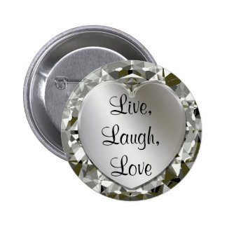 Live, Laugh, Love Heart & Diamonds Heart Pin