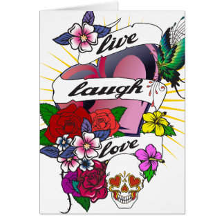 Live Laugh Love Heart Tattoo Design Card