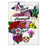 Live Laugh Love Heart Tattoo Design Greeting Card