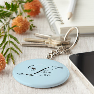 Live, Laugh, Love Inspirational Words & Bumble Bee Keychain