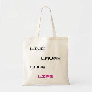 LIVE, LAUGH, LOVE, LIFE BUDGET TOTE BAG