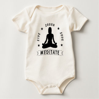 Live Laugh Love Meditate Female Text (blk) Baby Bodysuit