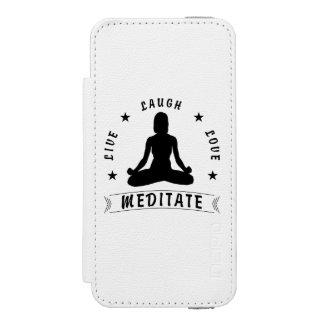 Live Laugh Love Meditate Female Text (blk) Incipio Watson™ iPhone 5 Wallet Case