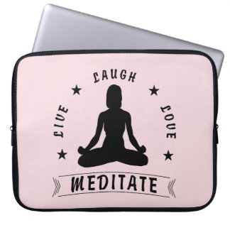 Live Laugh Love Meditate Female Text (blk) Laptop Sleeve