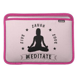 Live Laugh Love Meditate Female Text (blk) MacBook Sleeve