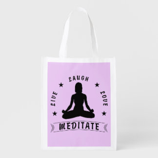 Live Laugh Love Meditate Female Text (blk) Reusable Grocery Bag