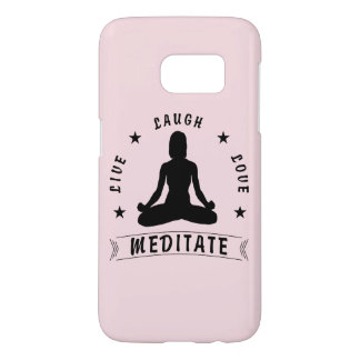 Live Laugh Love Meditate Female Text (blk) Samsung Galaxy S7 Case