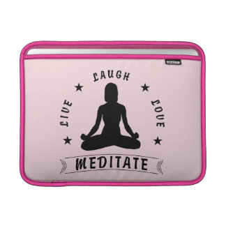 Live Laugh Love Meditate Female Text (blk) Sleeve For MacBook Air