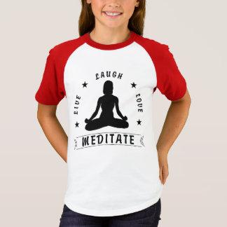 Live Laugh Love Meditate Female Text (blk) T-Shirt