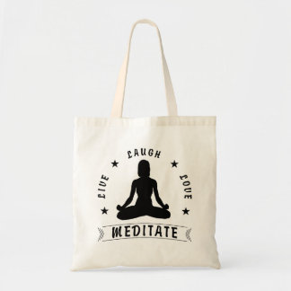 Live Laugh Love Meditate Female Text (blk) Tote Bag