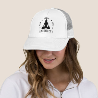 Live Laugh Love Meditate Female Text (blk) Trucker Hat